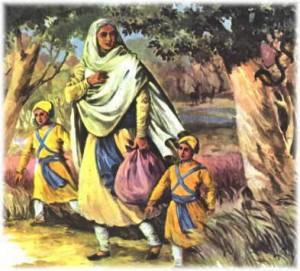 Mata Gujri Ji and Sahibzadas